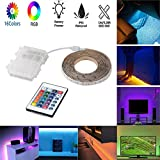 LED Strip Lights Battery Powered, Flexible Waterproof RGB Multi-Color Remote Control LED Rope Lights with Waterproof Battery Box for Home Outdoor Party Decoration-1M/3.28FT