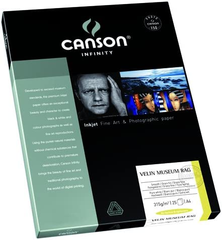 Box of 25 Sheets Natural White Matte Inkjet Paper A3 Canson Infinity Velin Museum Rag 315gsm