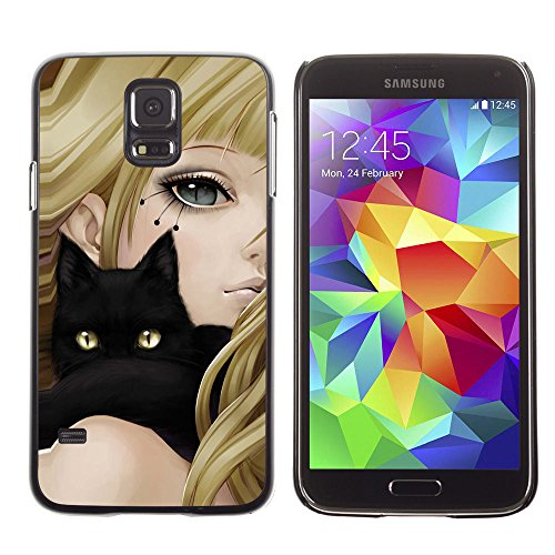 amsung Galaxy S5 girl anime cat blonde black yellow eyes drawing / Slim Black Plastic Case Cover Shell Armor
