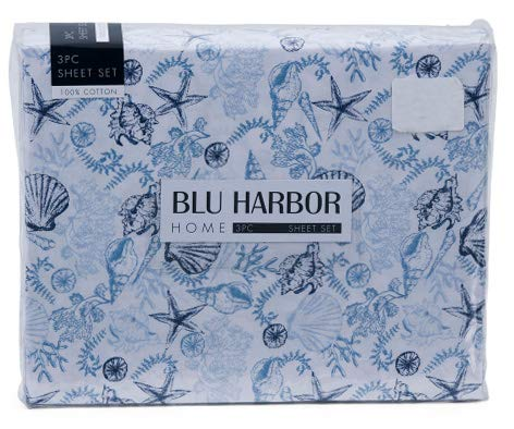 Scallop Sea Shade - Blu Harbor 4 Pc Cotton Sheet Set Ocean Sea Life Pattern Shells Scallops Starfish Coral in Shades of Blue on White - Oceania (Full)