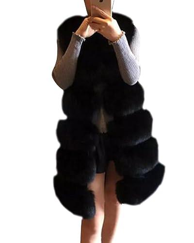 Mujer Abrigos Faux Pieles Artificiales Chaquetas Sin Mangas Chalecos Largo Elegante Y Cálido Para Invierno Parkas