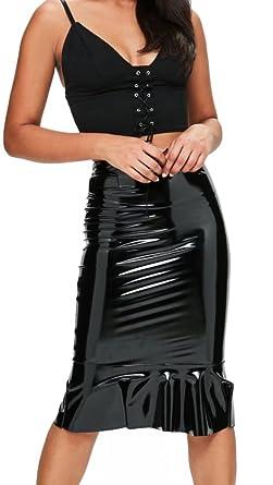 b0f94d8ed9 Lozana Paris Womens Wet Look Shiny Faux Leather Pencil Frill Hem Pencil  Midi Skirt UK 8-26 Black: Amazon.co.uk: Clothing