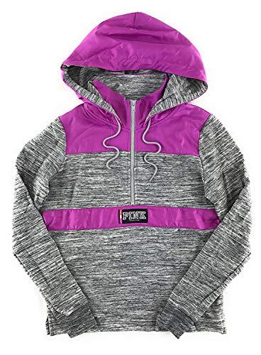 Victoria's Secret Pink Perfect Fleece-Lined Quarter Zip Anorak Hoodie, Marl Gray & Purple, Large ()
