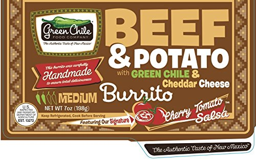 Green Chile Food Company, Beef with Potato/Green Chile/Cheddar Burrito, 7 oz, (12 count) by Green Chile Food Company