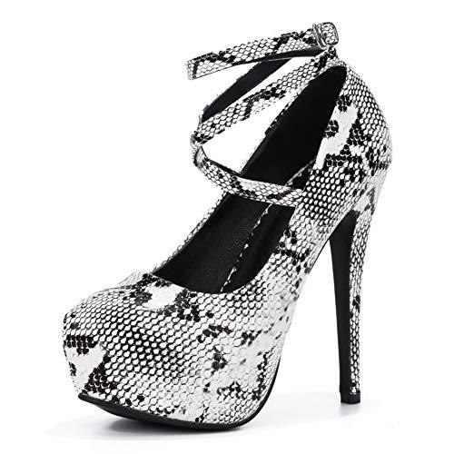 fereshte Women's Ankle Strap Platform High Heels Party Dress Pumps Shoes Black/Snakeskin Label Size 40-250mm - US 8