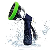 Garden Hose Nozzle - Wsiiroon Metal Hand Sprayer Watering Nozzle - High Pressure,Slip Resistant,Heavy Duty 9 Adjustable Watering Patterns, for Lawn Care,Car Wash, Watering Plants and Showering Pets.