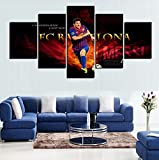 GEVES 5 Panels Lionel Messi Artwork Canvas Painting Wall Art Canvas Paintings For Living Room Wall Cuadros Canvas Prints Photo no Frame