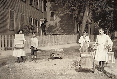 Family Of Workers 1912 Na Family In Roxbury Massachusetts Carrying Home Tags To String For Work Photograph By Lewis Hine August 1912 Poster Print by (18 x 24)