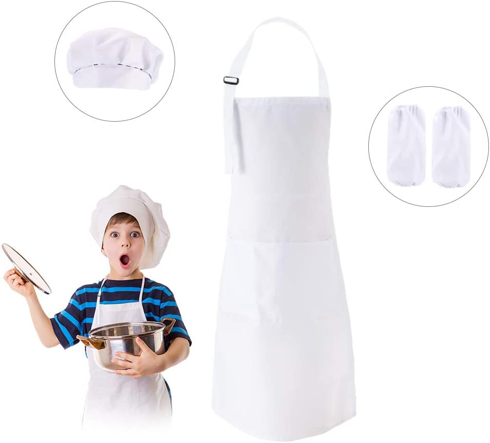 Orange Kids Apron and Chef Hat Set with Pocket and Sleeves Springcorner Kids Kitchen Cooking and Baking Wear Children Cook Costume for Cooking Baking Painting