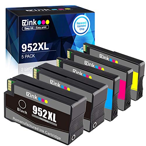 E-Z Ink (TM) Remanufactured Ink Cartridge Replacement for HP 952 XL 952XL to use with OfficeJet Pro 8710 8720 7740 8740 7720 8700 8715-New Upgraded Chips (2 Black, 1 Cyan, 1 Magenta, 1 Yellow, 5 Pack)