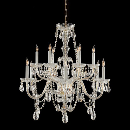 (Polished Brass Traditional Crystal 12 Light Candle Style Chandelier With Swarovski Strass Crystals )