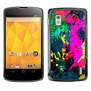 PC/Aluminum Funda Carcasa protectora para LG Google Nexus 4 E960 Colorfol Bright Painting Modern Paint Splash / JUSTGO PHONE PROTECTOR