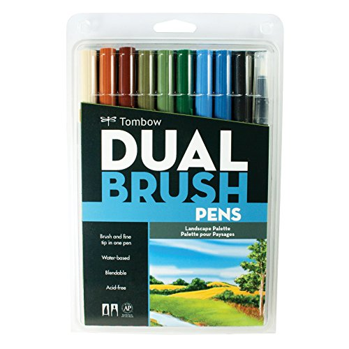 Tombow DBP10-56169 Dual Brush Markers, Landscape, 10-Pack
