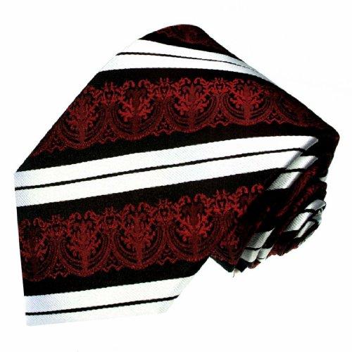 Ties Red Jacquard LORENZO 100 Luxury Silk Handmade Necktie Italian Striped Black 84214 Pattern Tie CANA Woven qPPfv