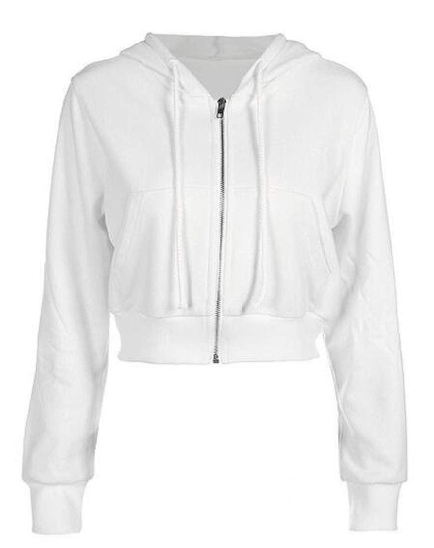 X-Future Womens Hooded Long Sleeve Zip Front Plain Crop Top Sweatshirt Jacket Coat