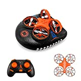 Mini Drone for Kids,Remote Control Boats for Pools and Lakes,RC Car for Kids or Adults,EACHINE E016F 3-in-1 Sea-Land-Air Mode Switchable Waterproof Hovercraft Toy RC Quadcopter RTF