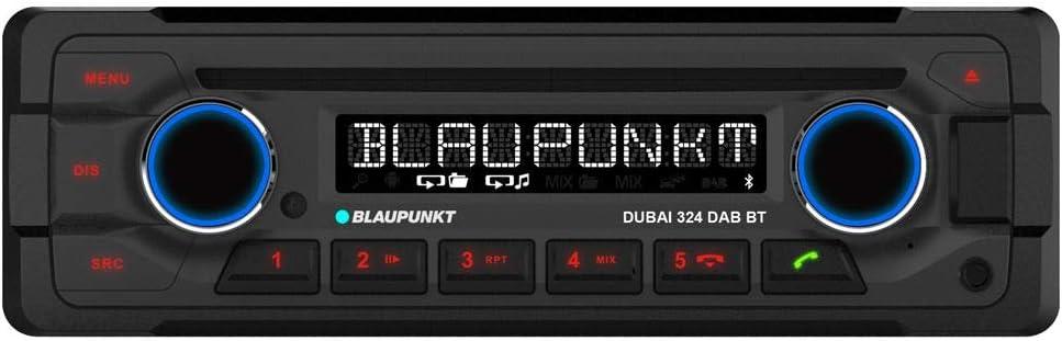 Sonderposten: Blaupunkt Dubai 324 Dab BT Heavy Duty Autoradio 24V | 1DIN | Dab+ | Bluetooth Freisprechen & Audio | CD | USB | AUX | Anschluss Lenkradfernbedienung | IR-Fernbedienung | 4X 50W MAX.