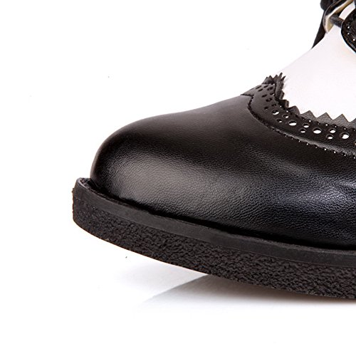 Bandage Vollpumpen mit Kitten Weiches Schwarz Heels Round PU VogueZone009 Womens Material Toe F8vggf