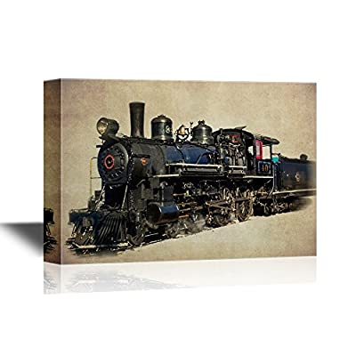 Stunning Style, Classic Design, Tank Engine Vintage Train on Abstract Background