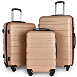 Luggage Set Spinner Hard Shell Suitcase Lightweight Carry On - 3 Piece (20'' 24'' 28'') (Champagne)