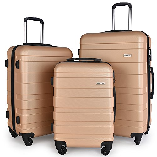 Luggage Set Spinner Hard Shell Suitcase Lightweight Carry On - 3 Piece (20'' 24'' 28'') (Champagne) by LEMOONE