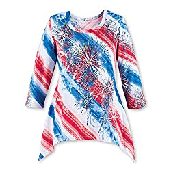 Diagonal Striped Sequin Fireworks Scoop Neck Top with 3/4 Sleeves
