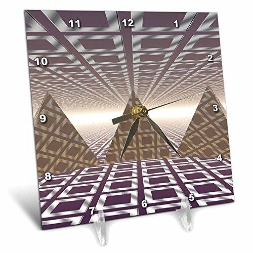 (3dRose dc_19939_1 Pyramids Three Dimensional Digital Art of Tiled Series of Triangular Pyramids Desk Clock, 6 by 6-Inch )
