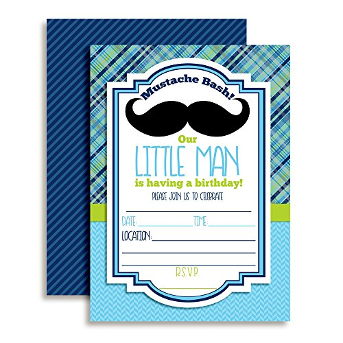 Mustache Bash Little Man Fill in Birthday Party Invitations, 20 5