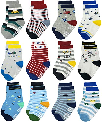 RATIVE RB-71317 Non Skid Anti Slip Slipper Cotton Striped Crew Dress Socks with Grips for Baby Toddler Boys (18-36 Months, 12 designs/RB-913915)
