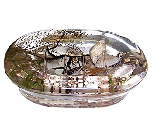 Crystal Shell Dish (Soap Dish Acrylic Case Dispenser Sea Shell Clear Bathroom Accessories Sink Basin Top)