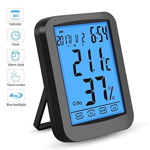 Alviller Thermometer Hygrometer, Digitales Thermo Hygrometer Inne Luftfeuchtigkeit Temperatur mit Min/Max Records, LCD Display für Schlafzimmer, Büro, Wohnzimmer