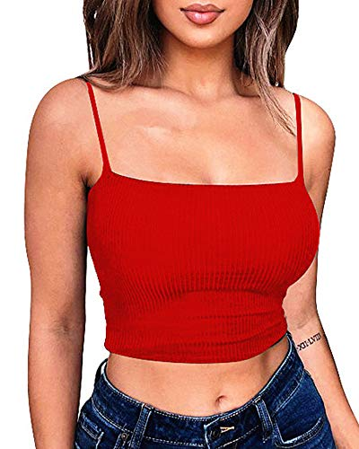 - YMDUCH Women's Sexy Crop Top Stretch Spaghetti Strap Ribbed Knitted Basic Cami Red