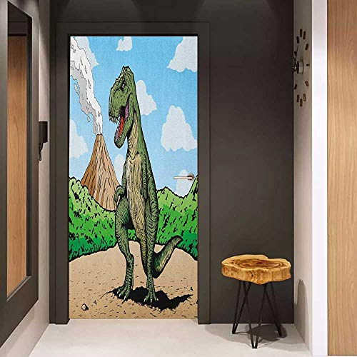 Onefzc Door Sticker Mural Dinosaur Giant Lizard T Rex on Active Volcano Untouched Jungle Backdrop WallStickers W23.6 x H78.7 Green Pale Brown Pale - T-rex Marbles