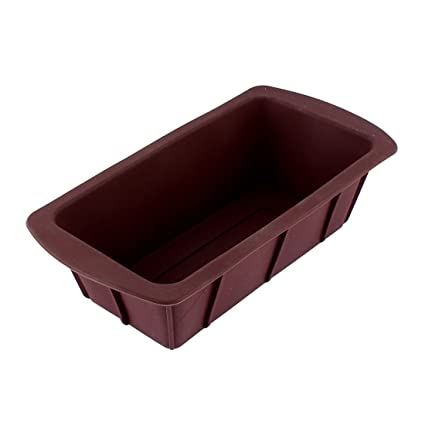 Pastelería Cocina Silicona rectángulo forma pastel Pan Forma Molde Bandeja de horno Chocolate Color