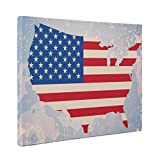 America With Flag Inside CANVAS Wall Art Home Décor