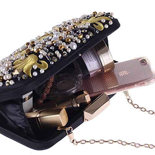 bandoulière d'embrayage tout carré sac Cheongsam Sac à avec bandoulière Messenger Black machine robe femmes Vintage sac brodé des Messenger de perle fourre FZHLY sac soirée RptTq