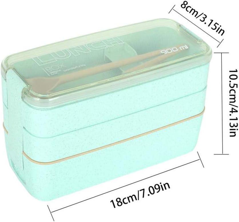 Verde//Rosa//Beige Lunch Box 3 Strati 900 ml LIULIUKEJI Lunch Box Scatola per bento per Adulti e Bambini Scatola per bento Ecologica in Paglia di Grano Scatola per bento con forchetta e Cucchiaio