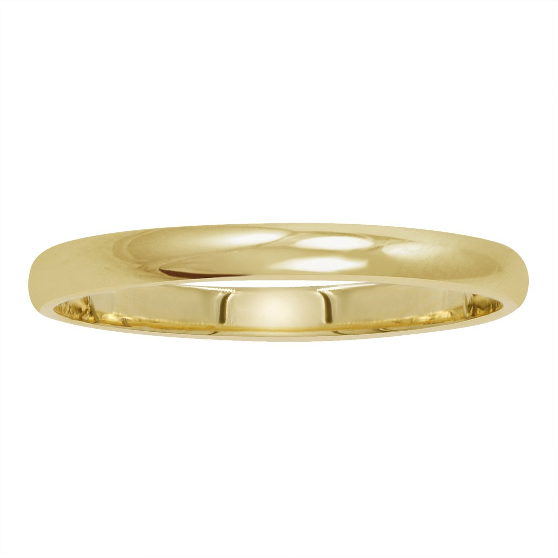 14K Yellow Gold 2mm Classic Fit Plain Wedding Band Size 4.5 by Amanda Rose Collection (Image #2)