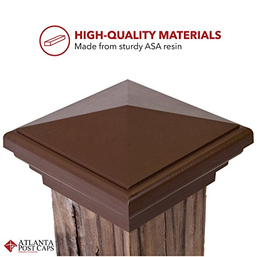 Mailboxes and Decks Atlanta Post Caps 4x4 Post Cap Brown Pyramid Style Slim Profile Square Top for Outdoor Fences