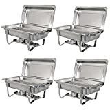 ZENY 2 Pack 8 Qt Stainless Steel Chafer Chafering Dish (4pcs)