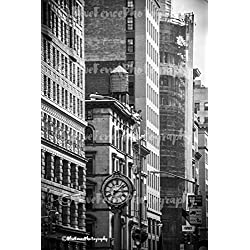 Flatiron Clock, Black and White Photography Photo Print Home Wall Decor New York City Living Room, Bedroom, Den, Classic, Sizes Available from 5x7 to 20x30.