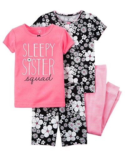 (Carter's Girls' 6M-12 4 Piece Sleepy Sister Squad Floral Pajama Set, Black/Pink/White, 3T)