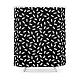 Society6 Bingo - Black And White Sprinkle Retro Modern Pattern Print Monochromatic Trendy Hipster 80s Style Shower Curtain 71'' by 74''