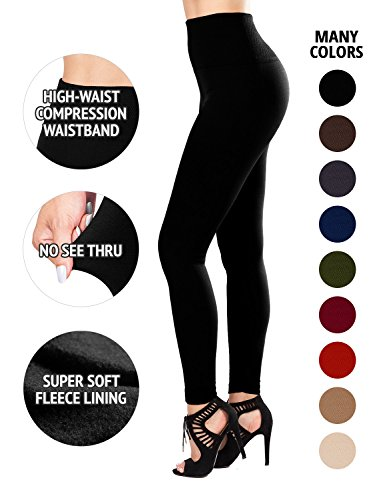 SEJORA Fleece Lined Leggings High Waist Compression Slimming Warm Opaque Tights (One Size, Black)