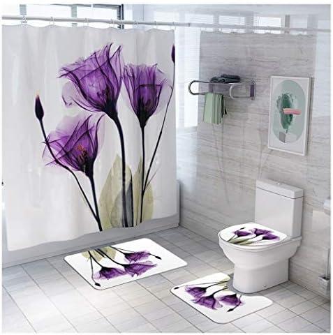 クリエイティブ花シリーズはカーテンマット4つの小品/セット、ノンスリップ簡単ドライ浴室マットセットバスルームのホームインテリアデザインのシャワー CXF (色 : Purple, サイズ : 4 piece set)