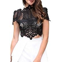 Simplee Apparel Women's Short Sleeve Mesh Floral Lace Crochet Crop Top
