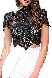 Simplee Apparel Women\'s Short Sleeve Mesh Floral Lace Crochet Crop Top, 12, Black