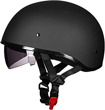 DOT Motorcycle German Half Face Helmet w// Visor For Harley Chopper Cruiser Biker