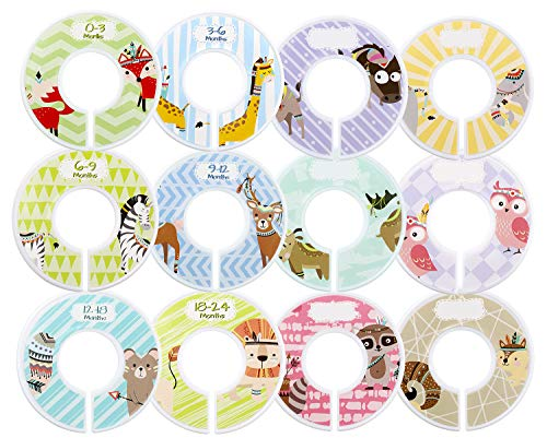 - Minnebaby Adorable Set of 12 Baby Clothing Closet Dividers with 4-Piece Label, Set of Pre-Printed and Blank Size Dividers