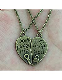 "My Us-DeSiGn_CA: ""1 Pair Women Lovers Couples Jewelry Vintage Bronze Broken Heart Parts 2 """" Don't forget me"""" Lock Key Pendant Best Friend Necklace"""